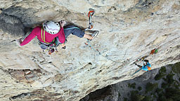 <strong>Blue Jeans</strong></br>                         Canada's own rock specialist Vikki Weldon, waiting for cooler temperatures on a route that has seen very few ascents.  Blue Jeans at that point was the hardest multi-pitch in Canada till a week later Castles in the Sky took the crown.